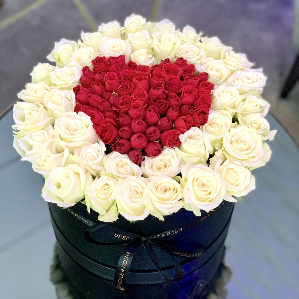 Heart in heart arrangement in a luxury round box - Upscale and Posh - Same Day Flower Delivery Dubai