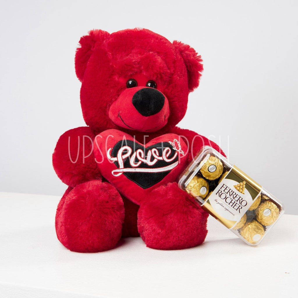 I Love You Teddy Bear and Chocolates - Upscale and Posh - Same Day Flower Delivery Dubai