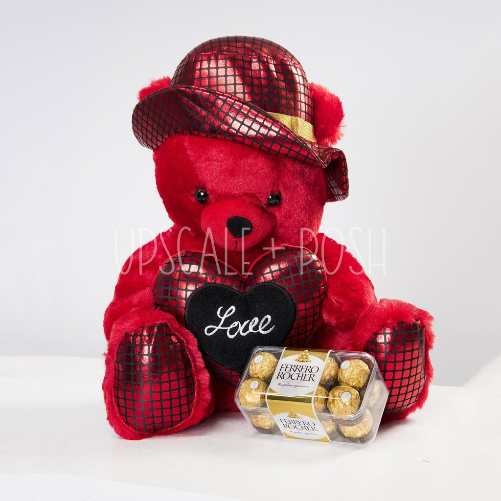 I Love You Teddy in Hat n Chocolate - Upscale and Posh - Same Day Flower Delivery Dubai