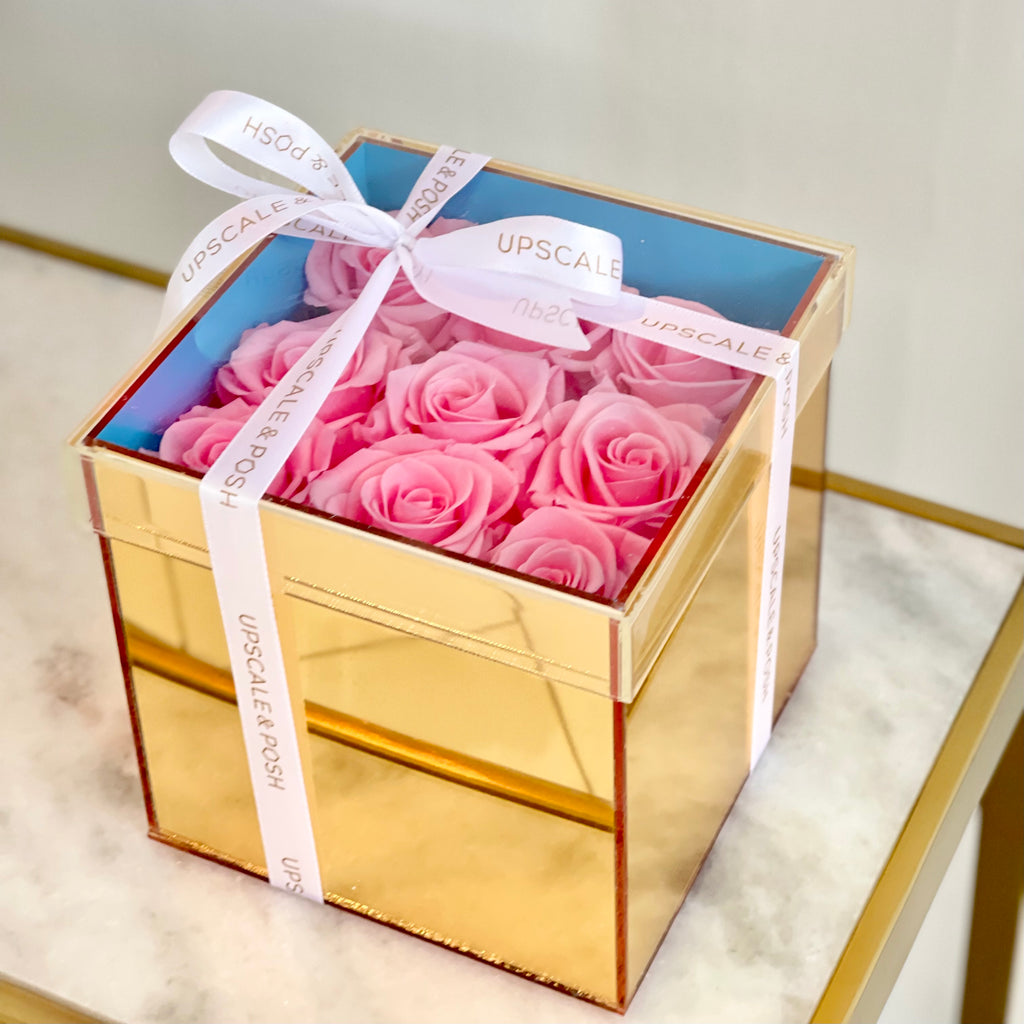 9 preserved pink roses presented in an 15cm acrylic box