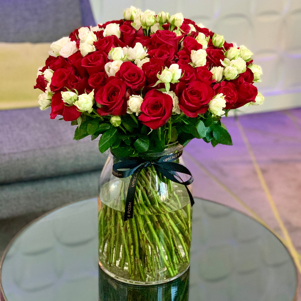 Large Luxury Fragrant Red and White Arrangement