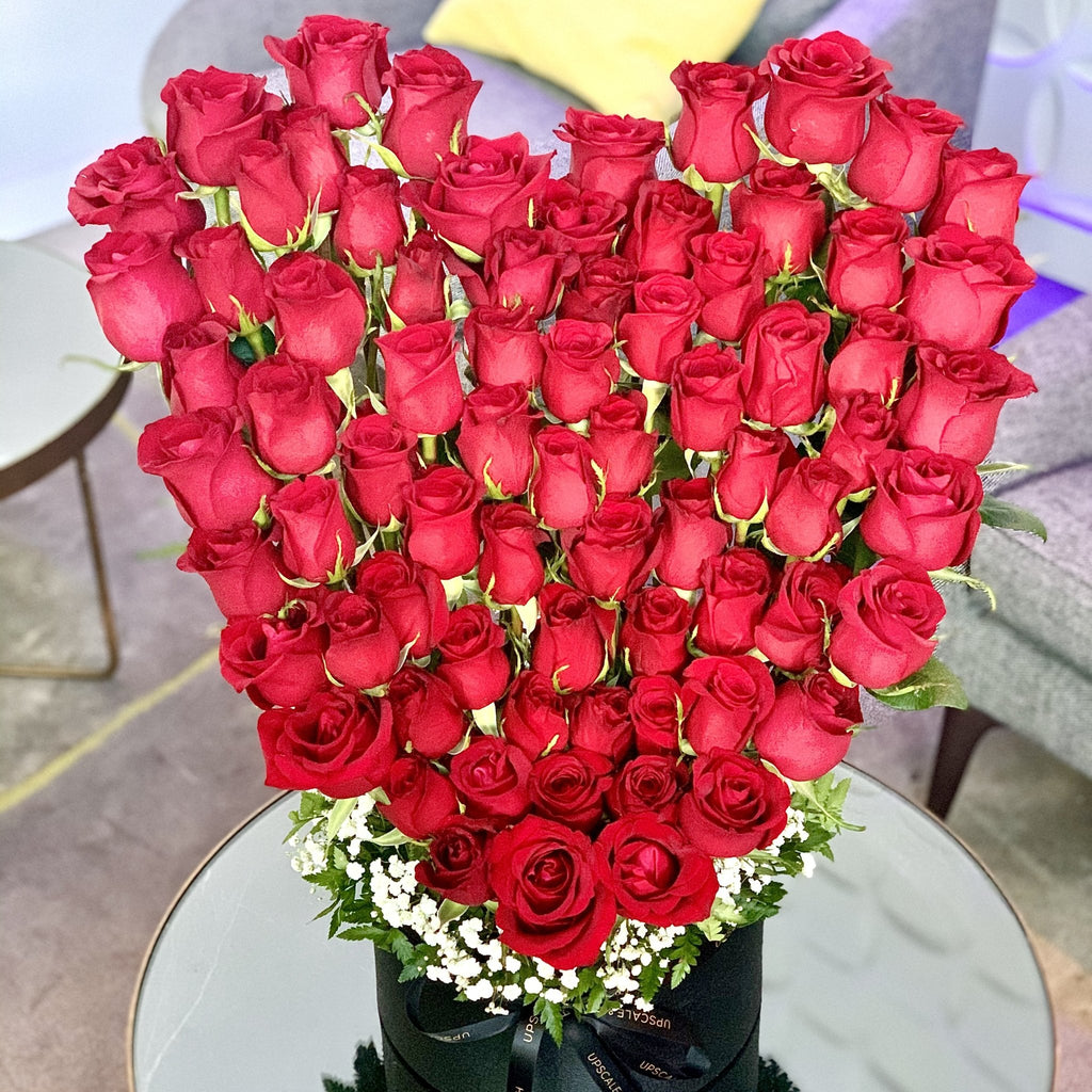 Large heart shaped roses sculpture in a luxury box - Upscale and Posh - Same Day Flower Delivery Dubai