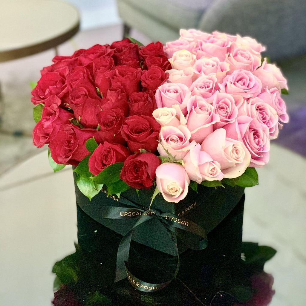 Pink and red premium roses arrangement in a heart shaped box - Upscale and Posh - Same Day Flower Delivery Dubai