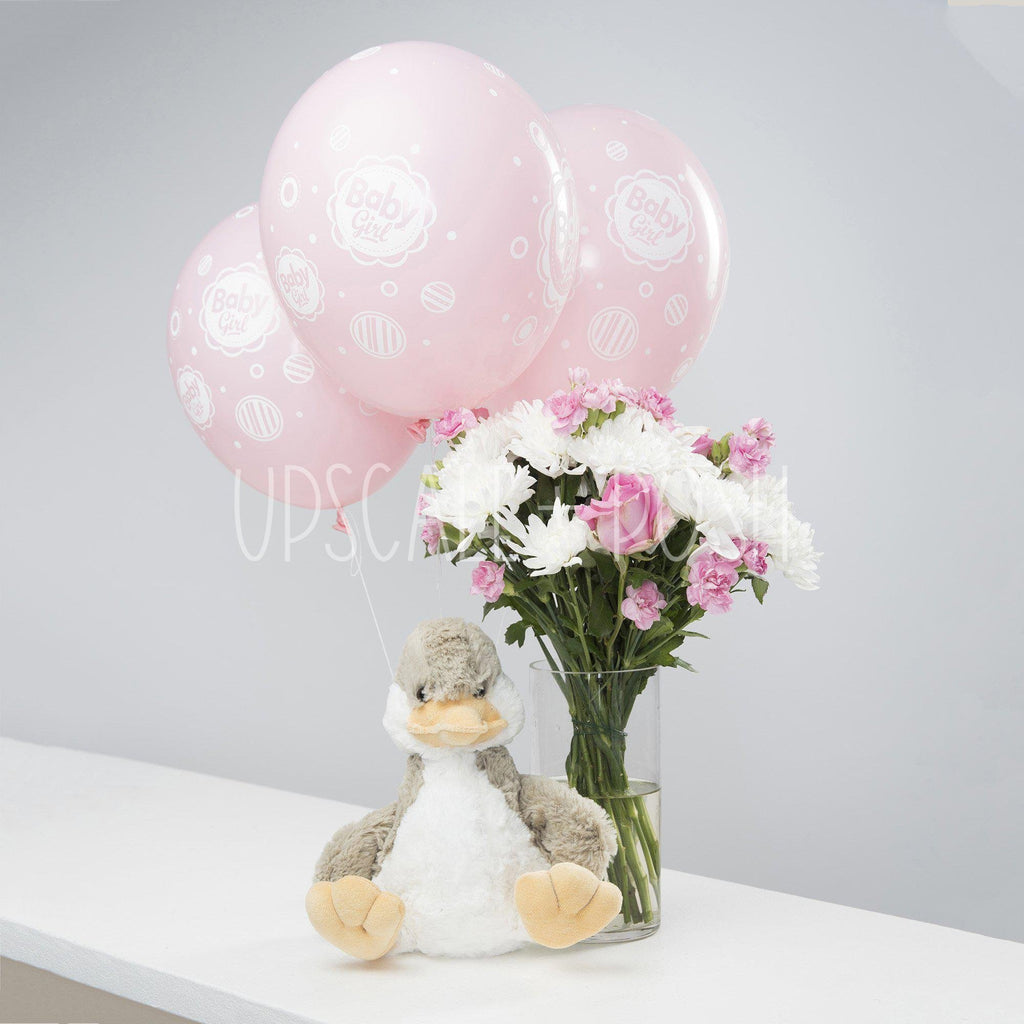 Pink N White Duck Combo - Upscale and Posh - Same Day Flower Delivery Dubai