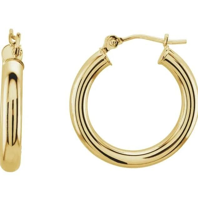 TUBE HOOP EARRINGS 14K GOLD (3mm Width) - 14K Yellow Gold / Small - 20mm
