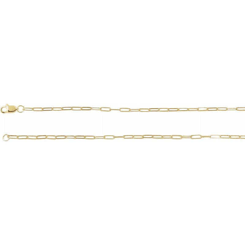 Gold paper clip necklace solid 14 karat gold