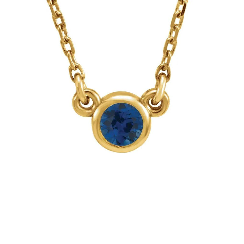 Blue sapphire bezel set gemstone necklace