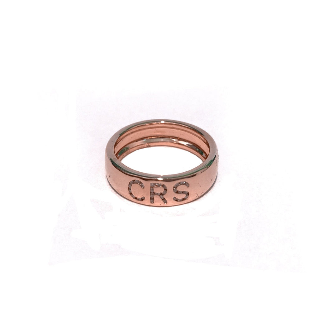 Diamond Initial Cigar Band in rose gold