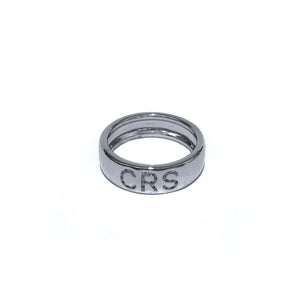 Diamond Initial Cigar Band in white gold
