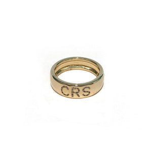 Diamond Initial Cigar Band in yellow gold