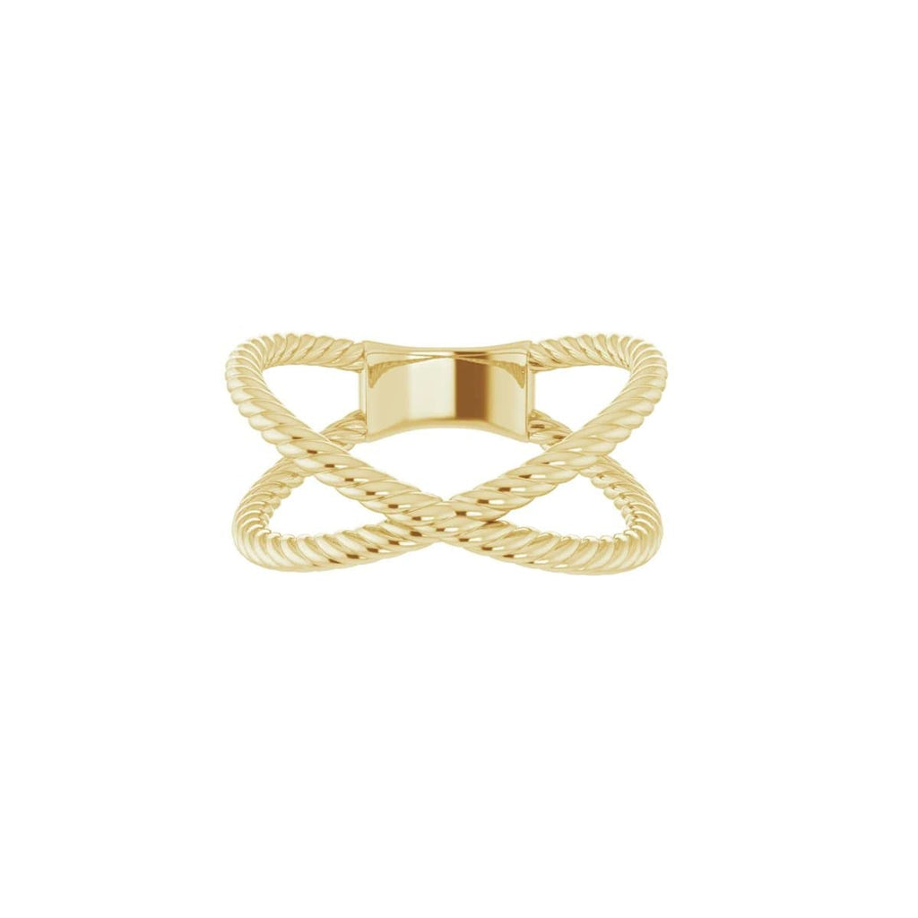 CRISS CROSS ROPE RING - 14K Yellow Gold / 5 - 14K Yellow Gold / 5.5 - 14K Yellow Gold / 6 - 14K Yellow Gold / 6.5 - 14K Yellow Gold / 7 - 14K Yellow Gold / 7.5 - 14K Yellow Gold / 8 - 14K Yellow Gold / 8.5 - 14K Yellow Gold / 9