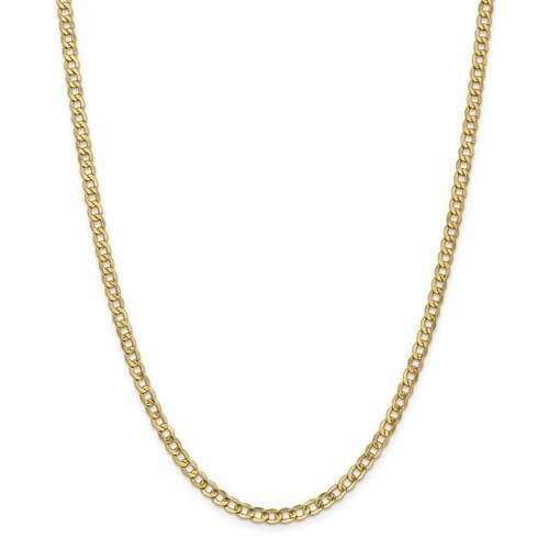 curb link chain 14k yellow gold 4.3mm chain width