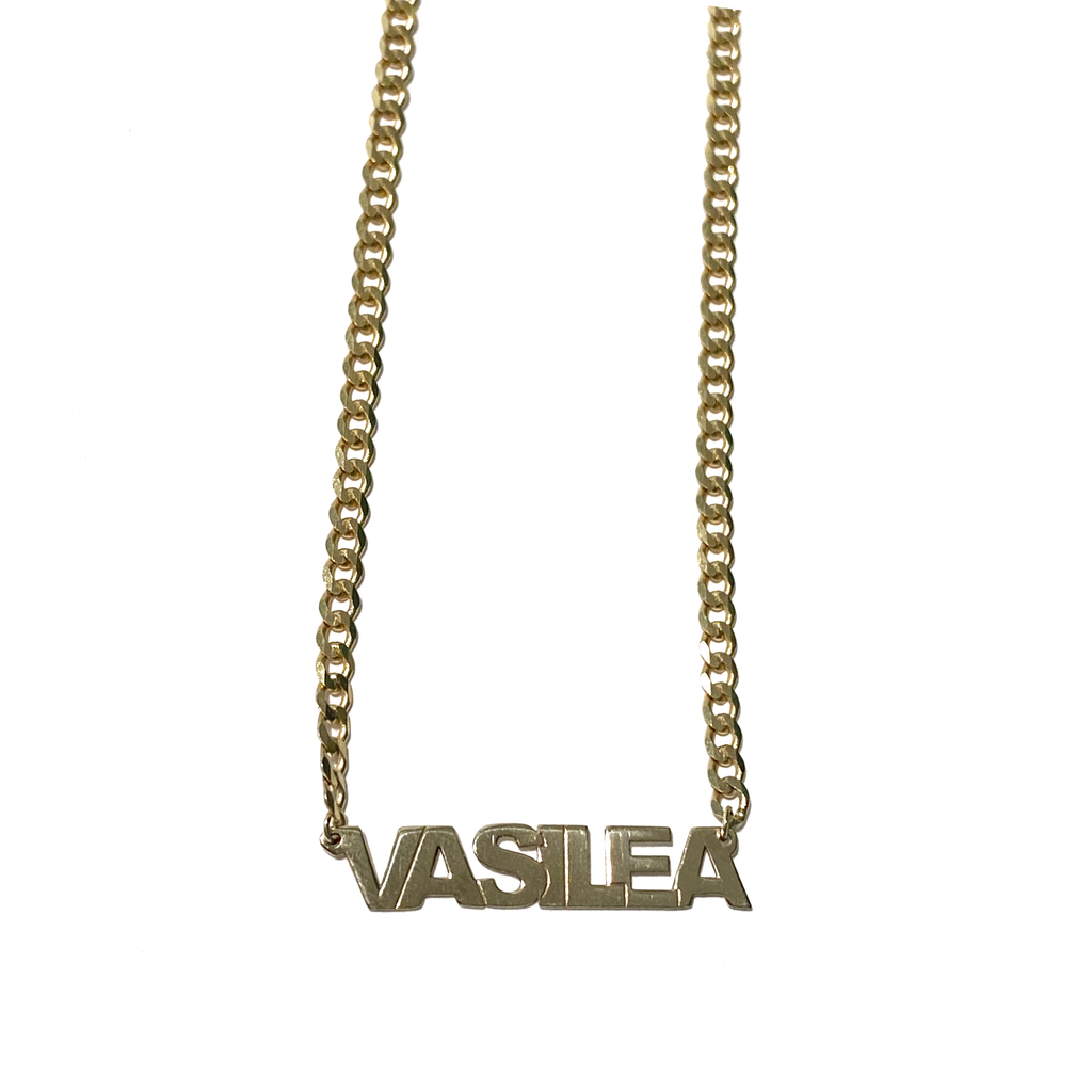 curb link chain name necklace