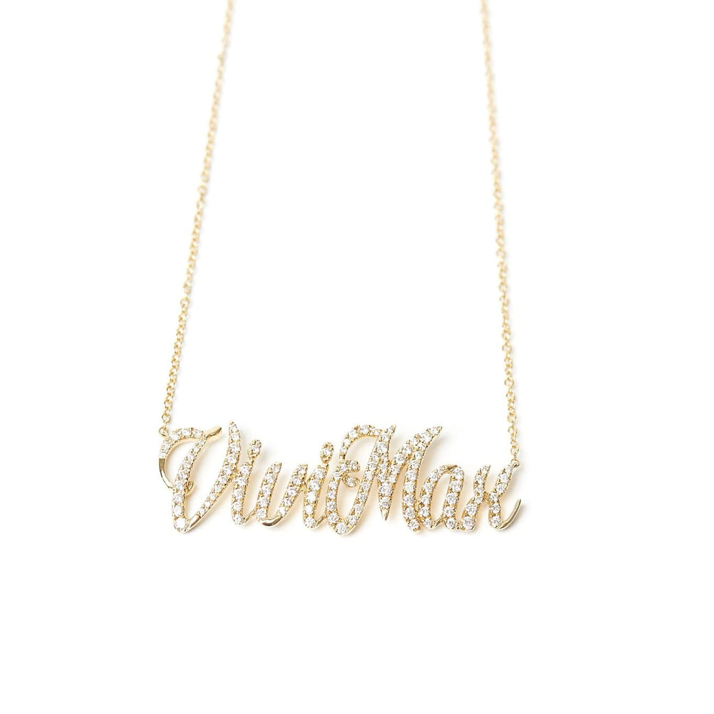 Custom name necklace 14 karat gold and diamonds Vivi Max