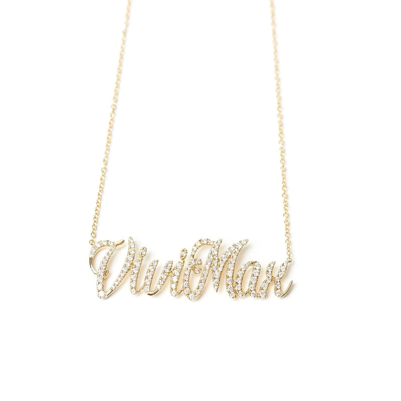 Custom name necklace in yellow gold vivi max styled with turquoise heart diamond charm necklace