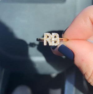 Custom initial ring with diamonds in yellow gold RB