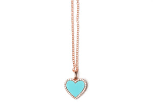 Diamond Turquoise heart necklace rose gold