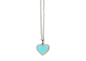 Diamond Turquoise heart necklace white gold