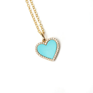 DIAMOND TURQUOISE HEART NECKLACE with 14 karak gold. diamonds surround the heart