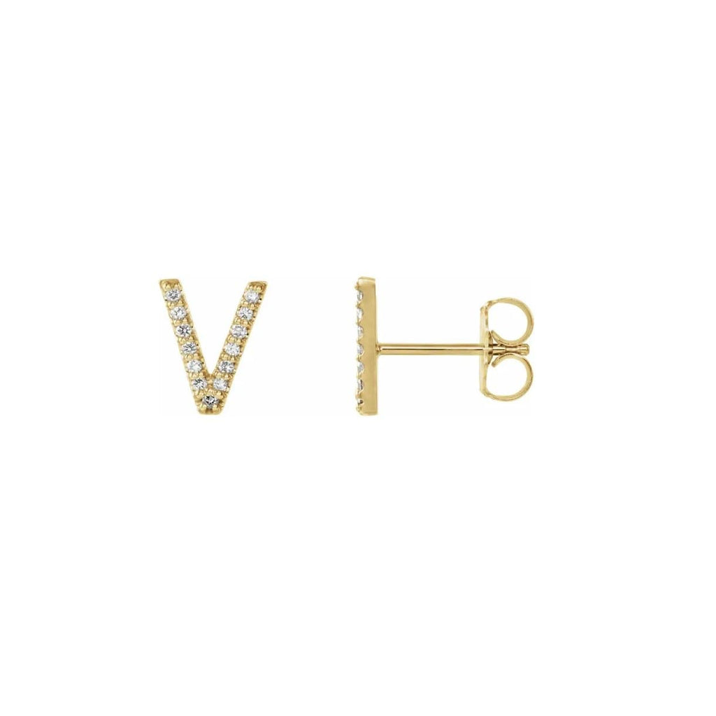 Diamond letter earring V yellow gold