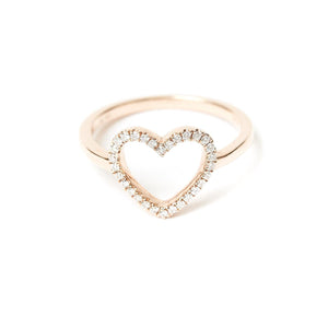 Sparkly open heart ring with a solid 14k (14 karat) gold band. 0.13 carats of diamonds. Custom ordered based on your ring size.