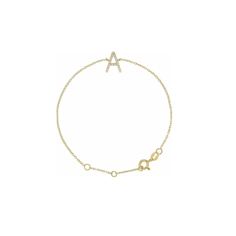 Diamond Initial Bracelet in yellow gold