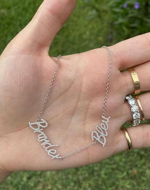 Custom double name necklace in white gold with diamonds