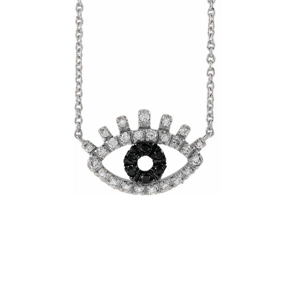 Evil Eye Necklace with white and black diamonds