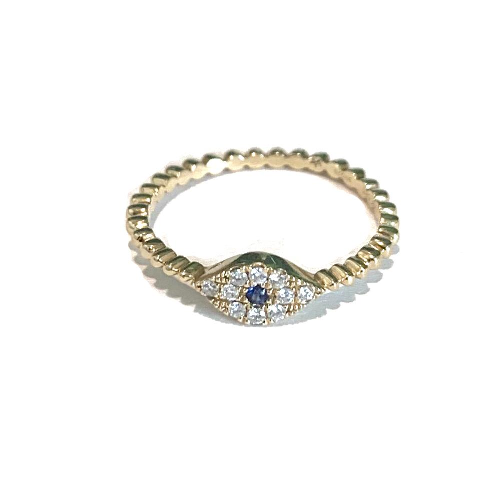EVIL EYE RING with pave diamonds and blue sapphire
