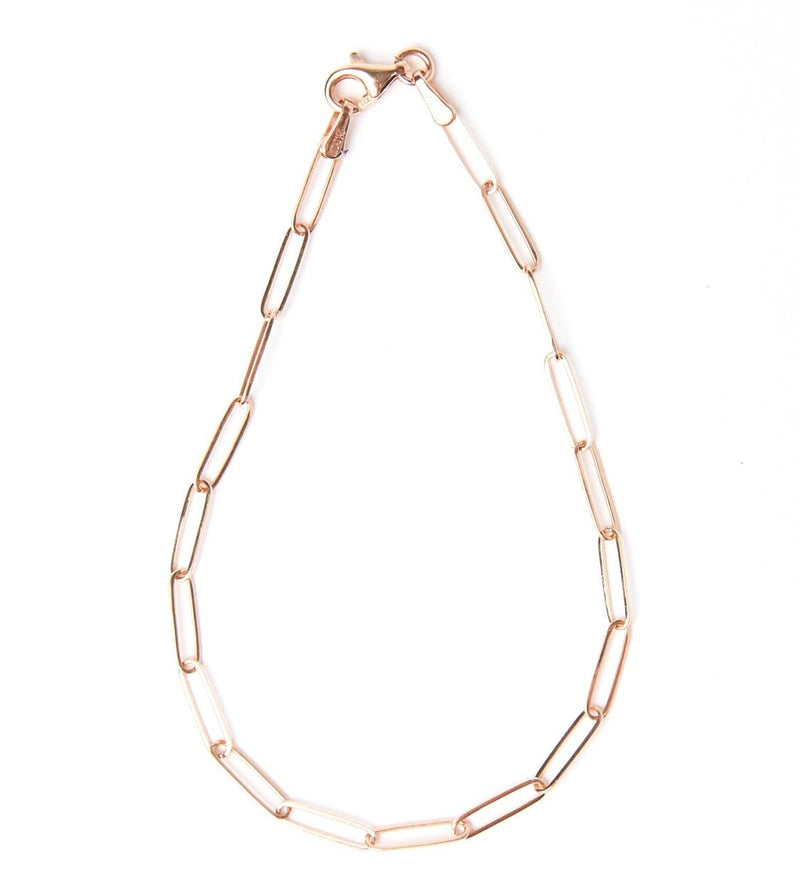 Solid 14k gold paperclip bracelet with 2.6 millimeter elongated chain links