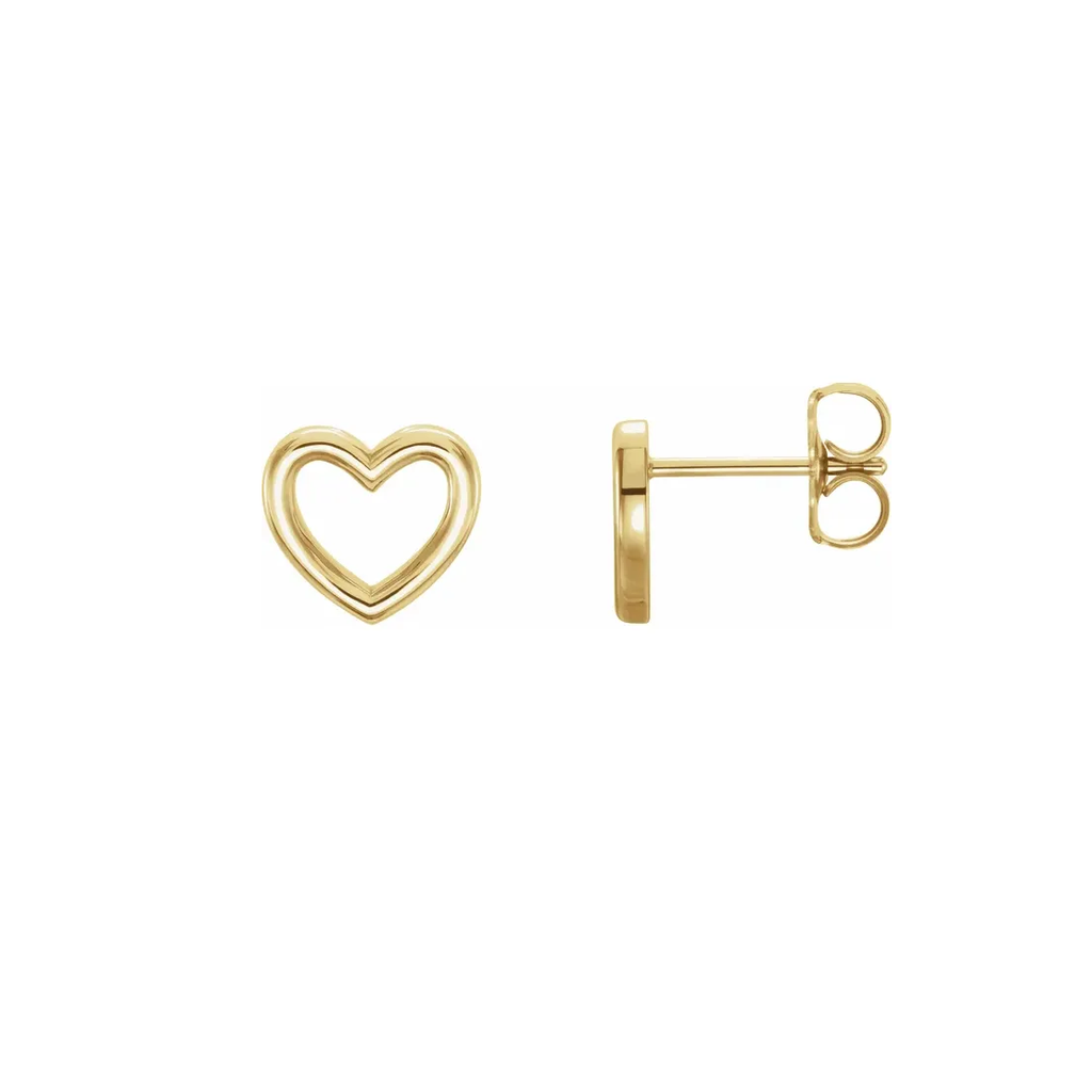 open heart earrings in 14 karat gold