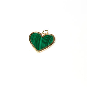 LARGE HEART PENDANT - Malachite / 14K Yellow Gold - Malachite / 14K White Gold - Malachite / 14K Rose Gold