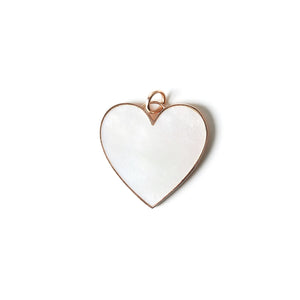 LARGE HEART PENDANT - Mother of Pearl / 14K Yellow Gold - Mother of Pearl / 14K White Gold - Mother of Pearl / 14K Rose Gold