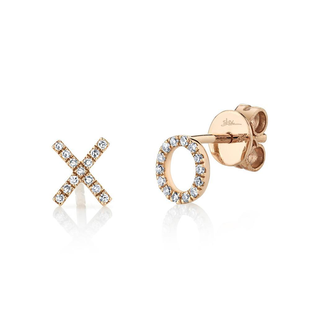 DIAMOND XO STUD EARRINGS