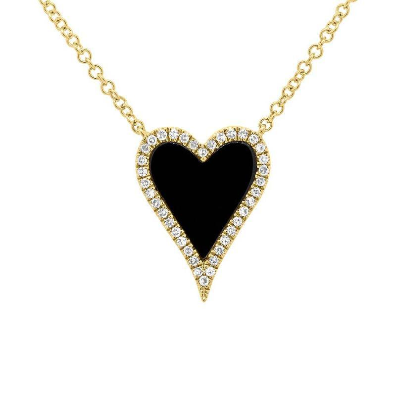GEMSTONE & DIAMOND HEART NECKLACE