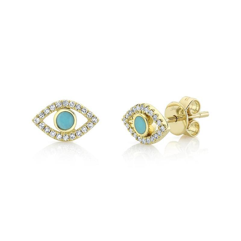 TURQUOISE AND DIAMOND EVIL EYE EARRINGS