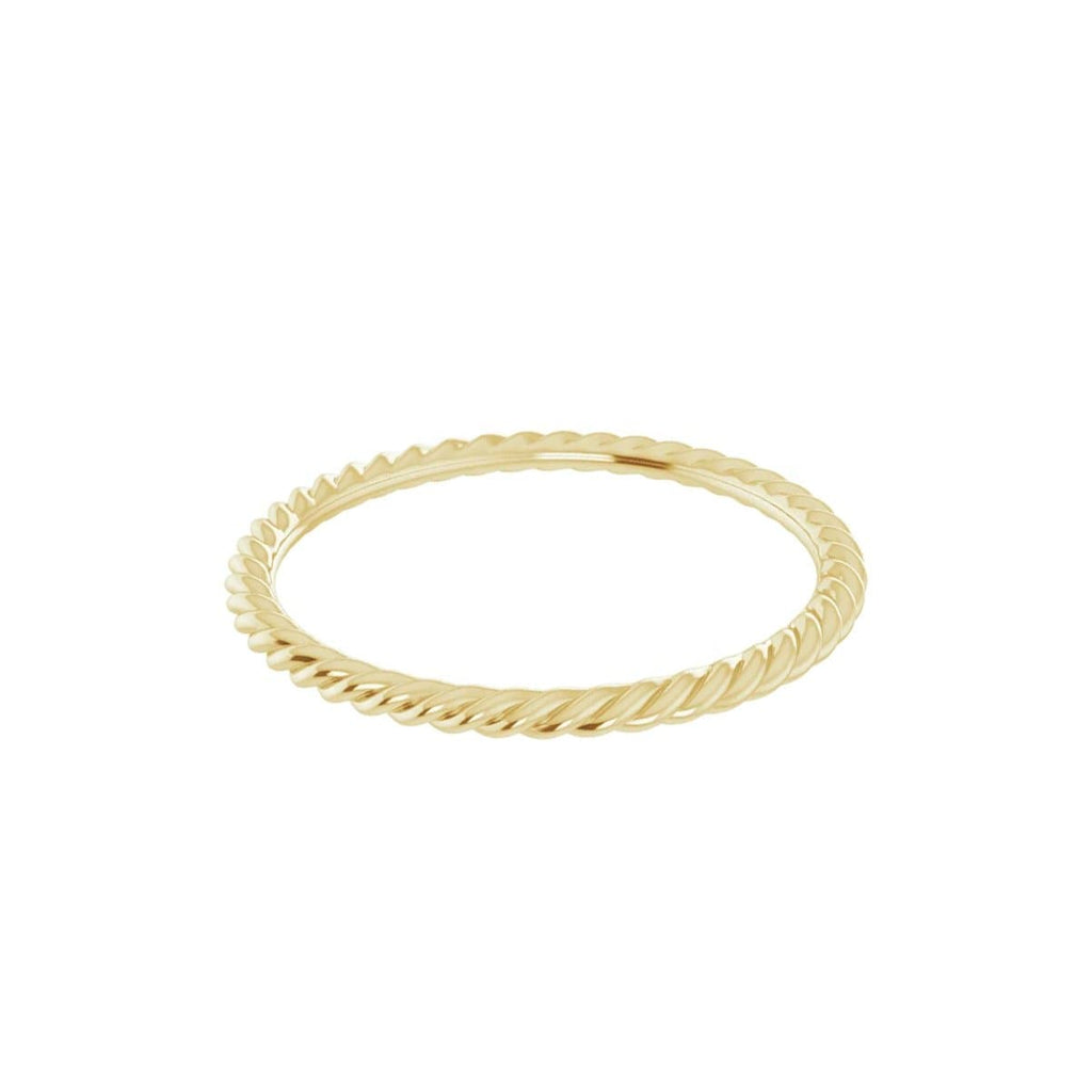 skinny stacking rope band 14k gold