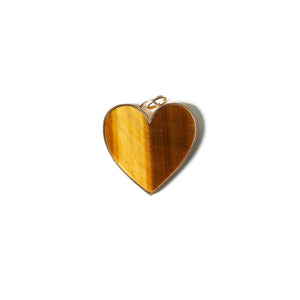 Tigers Eye Large Heart Pendant set in solid 14 karat gold