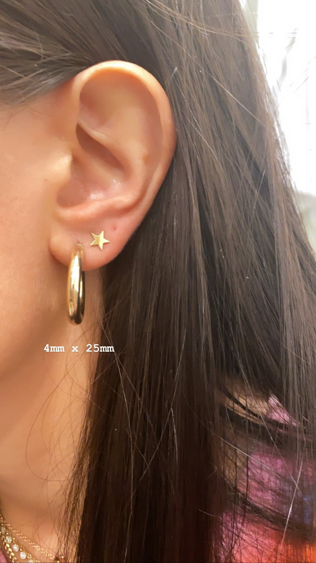 star gold earring and tube hoop gold earring