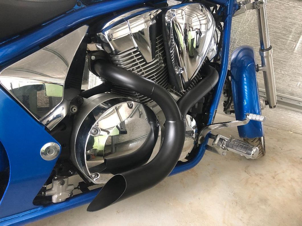 Honda Fury 2 into 1 Ceramic Coated Black Exhaust System