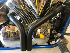 Honda Fury ceramic coated black dump pipes