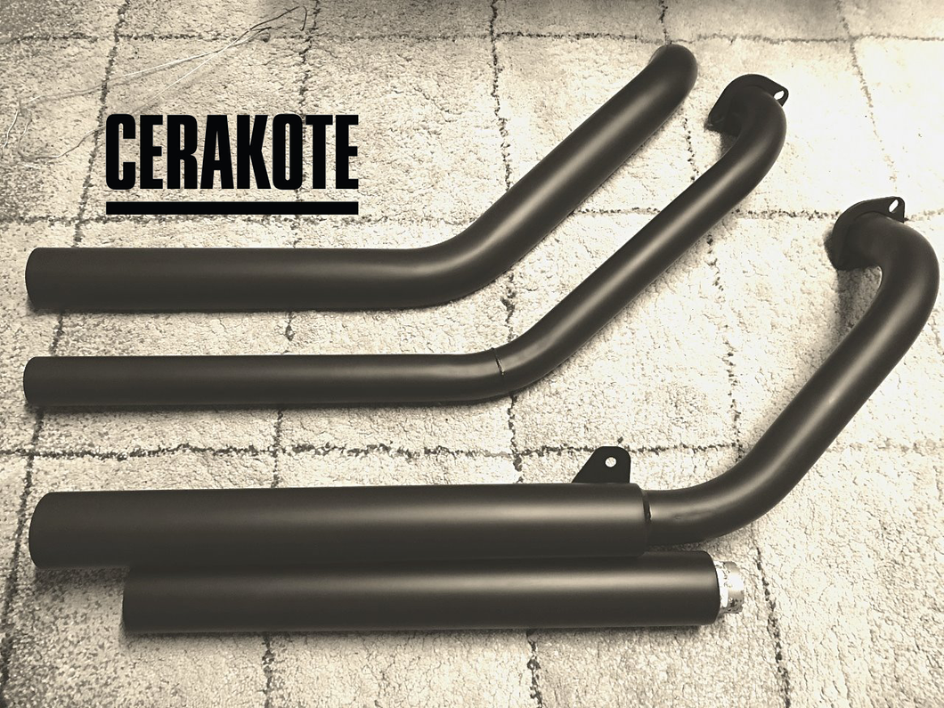 Suzuki Boulevard C109 Custom Sports Exhaust System. (Ceramic Coated Black)