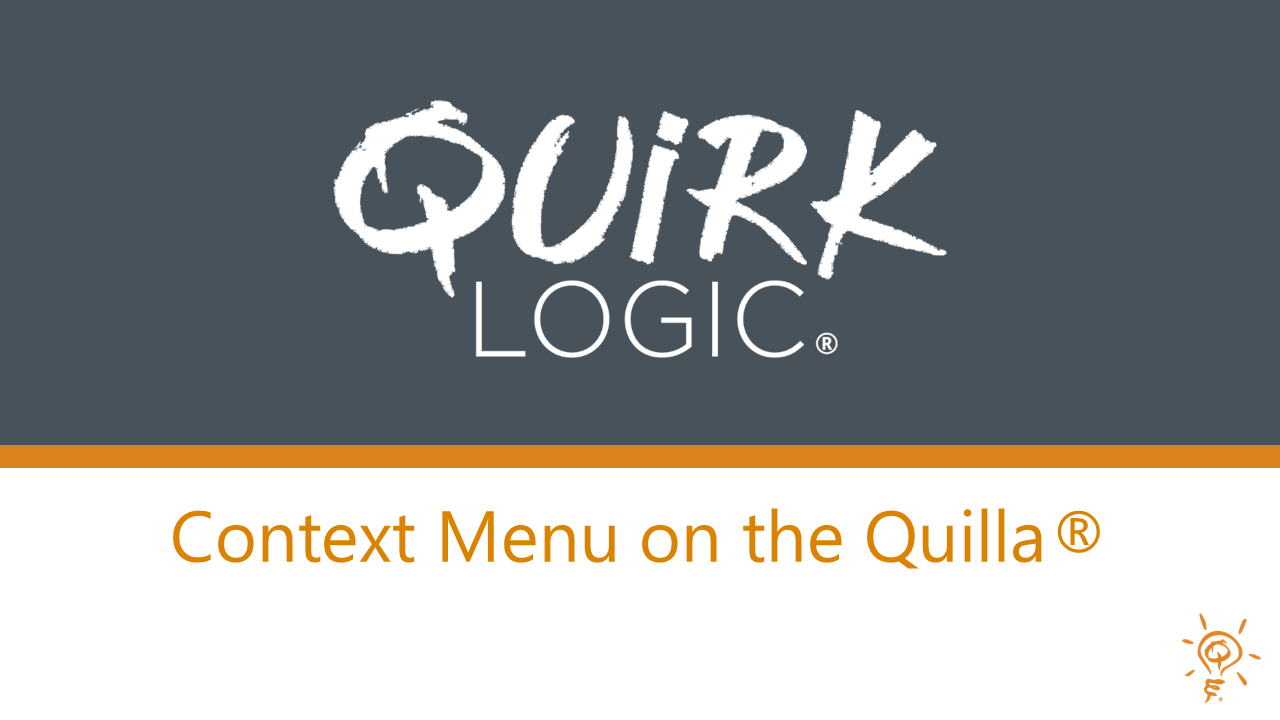 Training: Context Menu on the Quilla