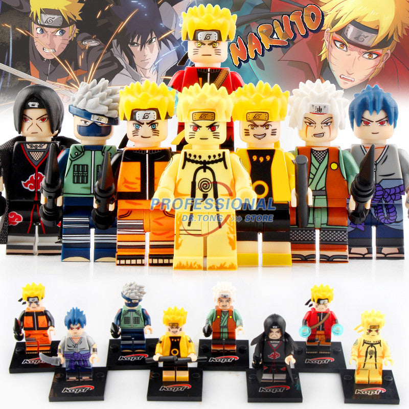 8pcs Naruto Action Figures Sasuke Uchiha Itachi Jiraiya Hatake Kakashi Figures Building Blocks Toys for Children Gifts KF6078