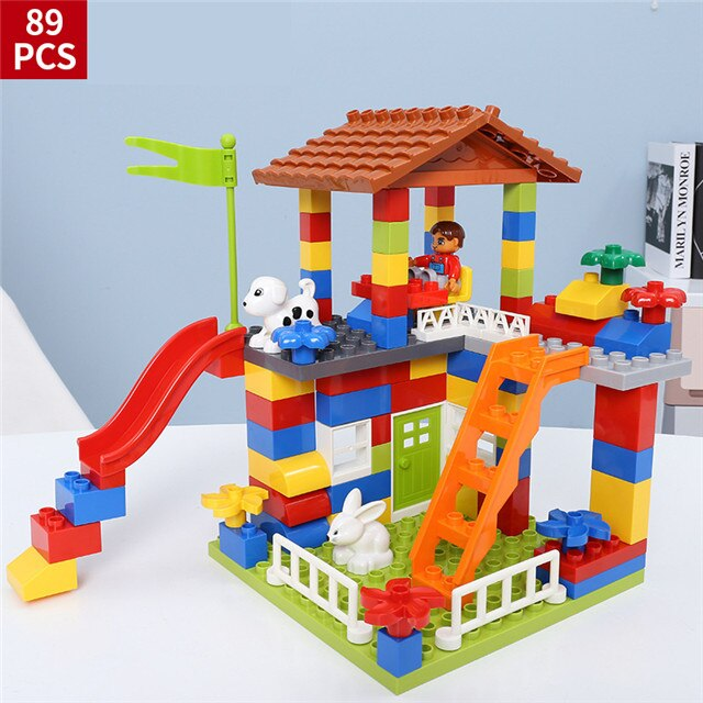 DIY Colorful City House Roof Big Particle Castle Building Blocks Compatible Legoings Duploe Creative Bricks Toys For Child Gift