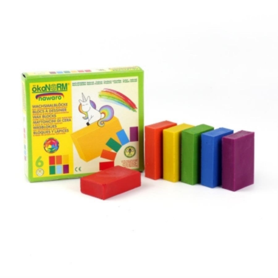 Eco-conscious wax colouring blocks - 6 unicorn colours