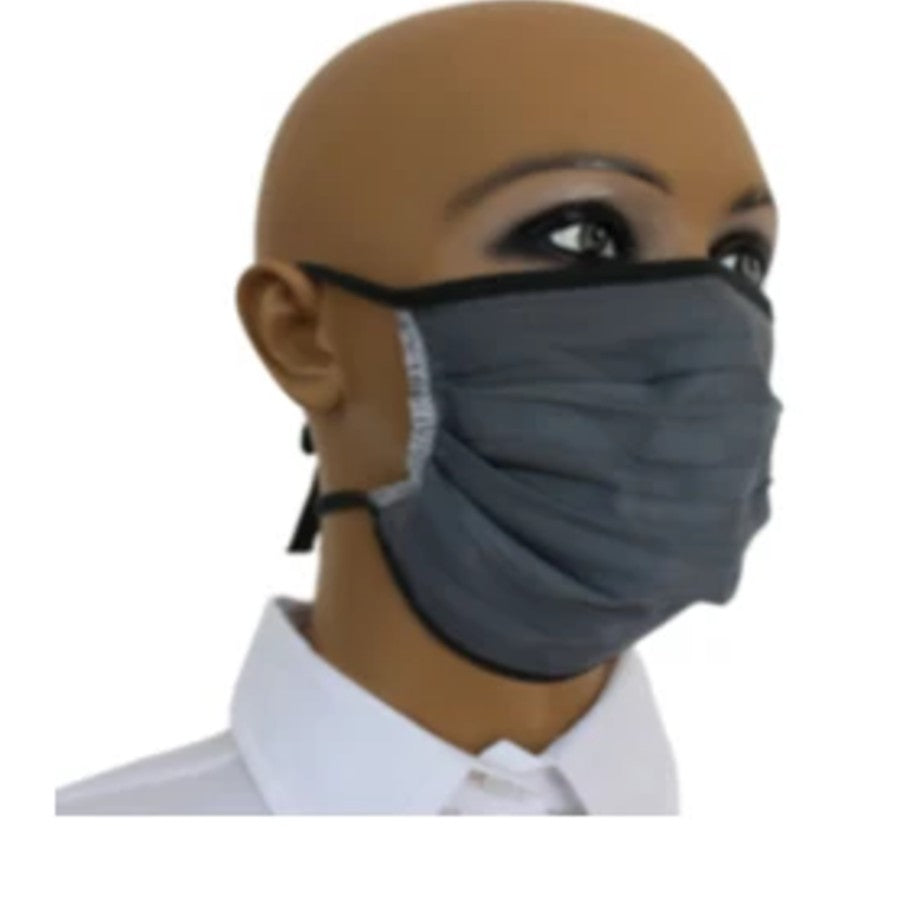 100% Double Layered Cloth Face Mask with Tie Backs - Grey
