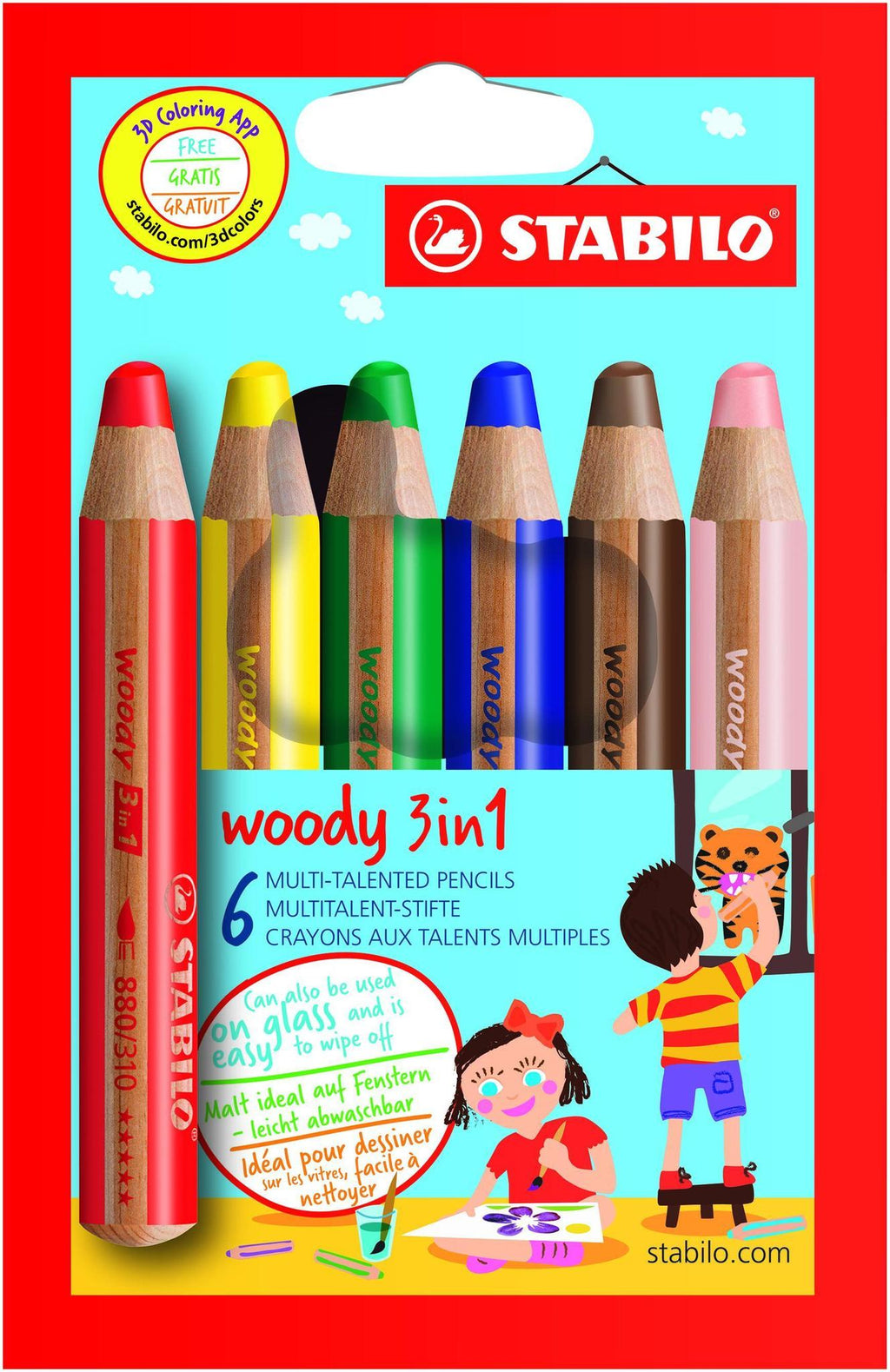 STABILO Woody 3-in-1: pencil, crayon, paint stick - 6 kiddie colours