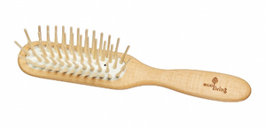 Wooden Hairbrush - Extra-long Wooden Pins (rectangle)
