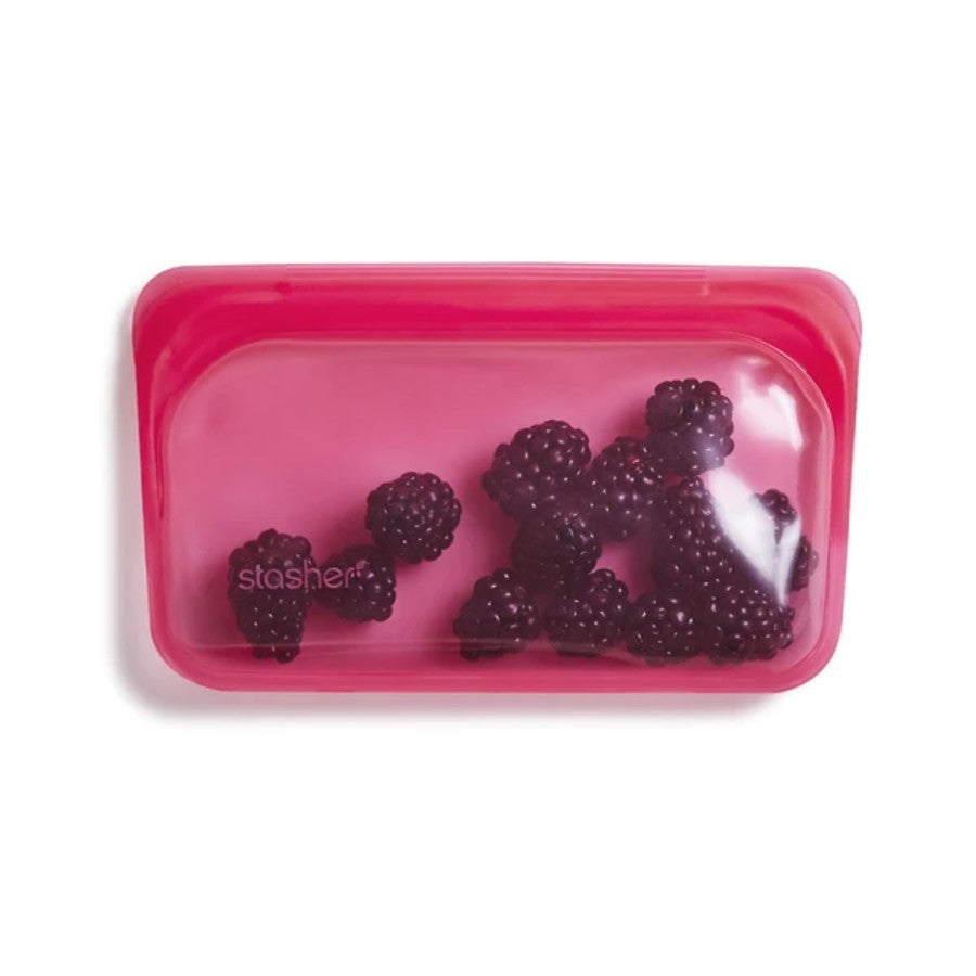 Reusable Stasher Silicone Snack Bag - Raspberry